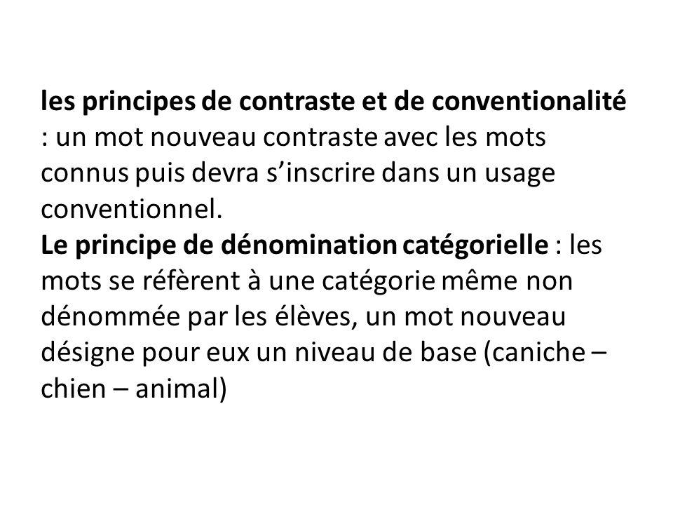 les principes de contraste et de conventionalité : un mot nouveau contraste avec les mots connus puis devra s'inscrire dans un usage conventionnel.