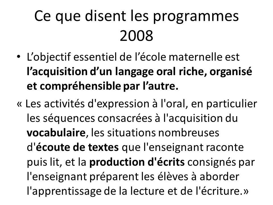 Ce que disent les programmes 2008