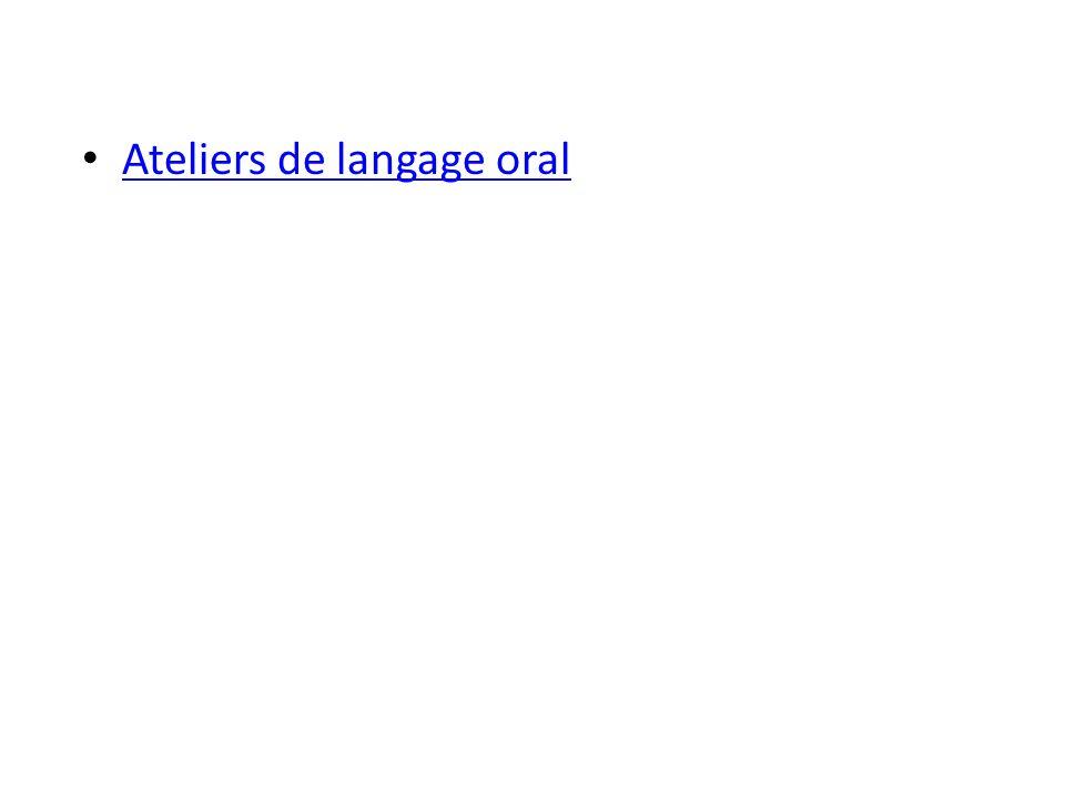 Ateliers de langage oral