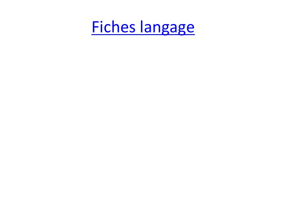 Fiches langage