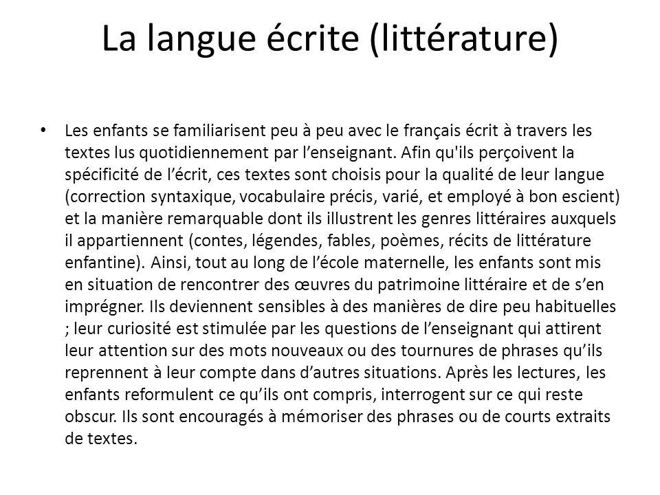 La langue écrite (littérature)