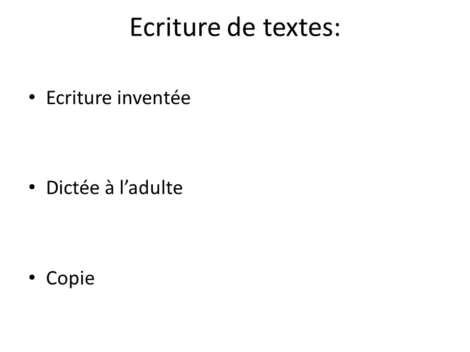 Ecriture de textes: Ecriture inventée Dictée à l'adulte Copie