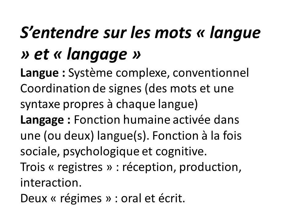 S'entendre sur les mots « langue » et « langage »