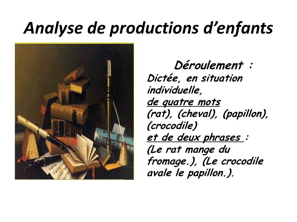 Analyse de productions d'enfants