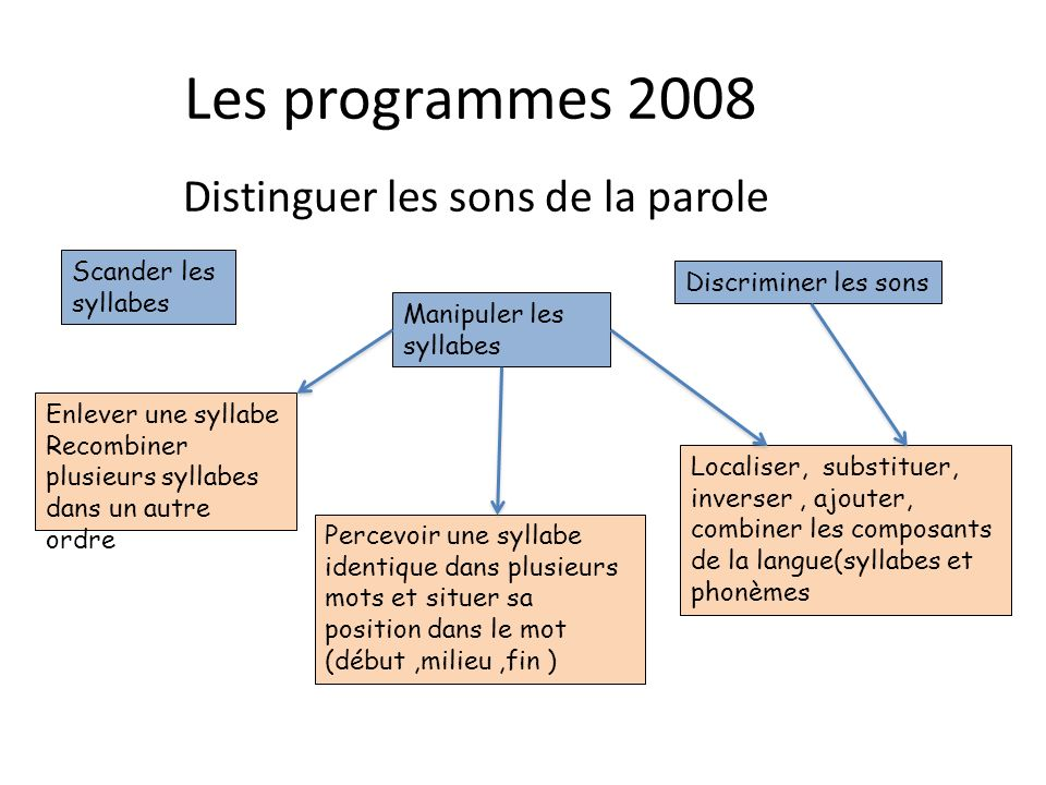 Les programmes 2008 Distinguer les sons de la parole