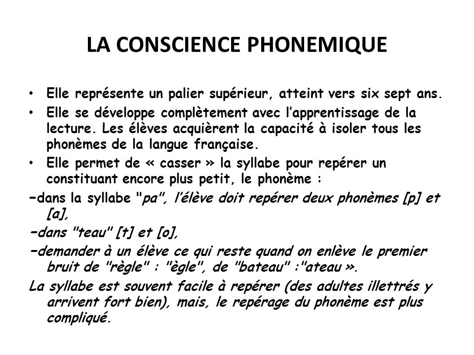 LA CONSCIENCE PHONEMIQUE
