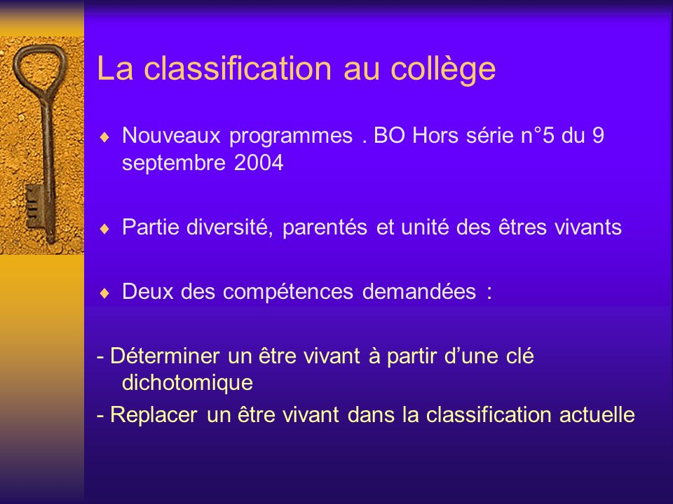 La classification au collège