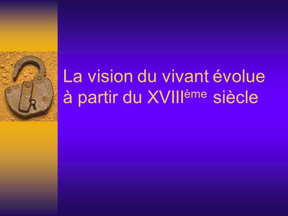 La vision du vivant évolue à partir du XVIIIème siècle