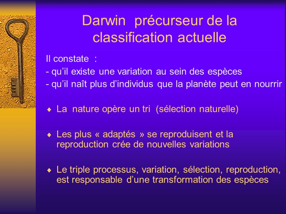 Darwin précurseur de la classification actuelle
