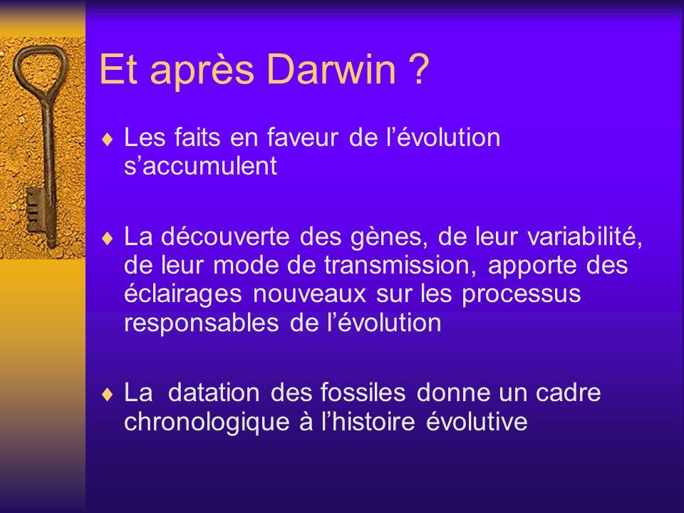 Et après Darwin Les faits en faveur de l'évolution s'accumulent