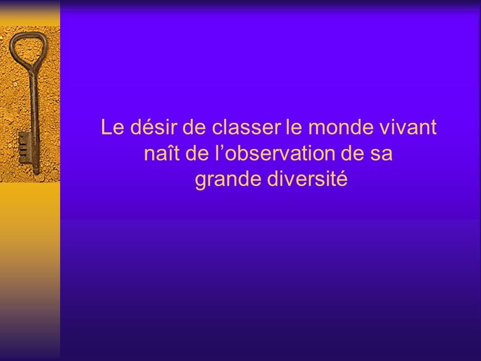 Le désir de classer le monde vivant naît de l'observation de sa grande diversité