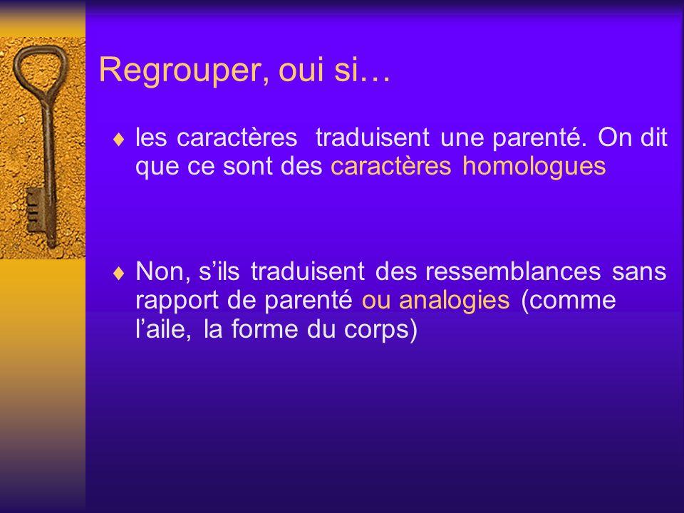 Regrouper, oui si… les caractères traduisent une parenté. On dit que ce sont des caractères homologues.