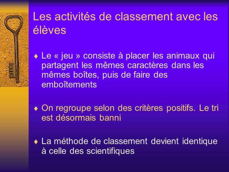 Les activités de classement avec les élèves