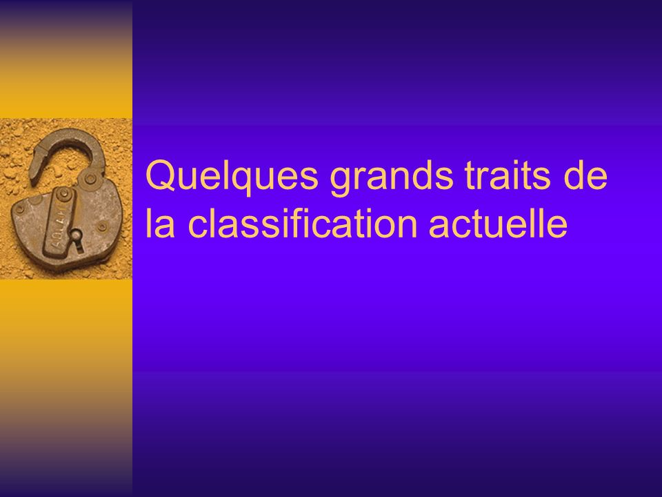 Quelques grands traits de la classification actuelle