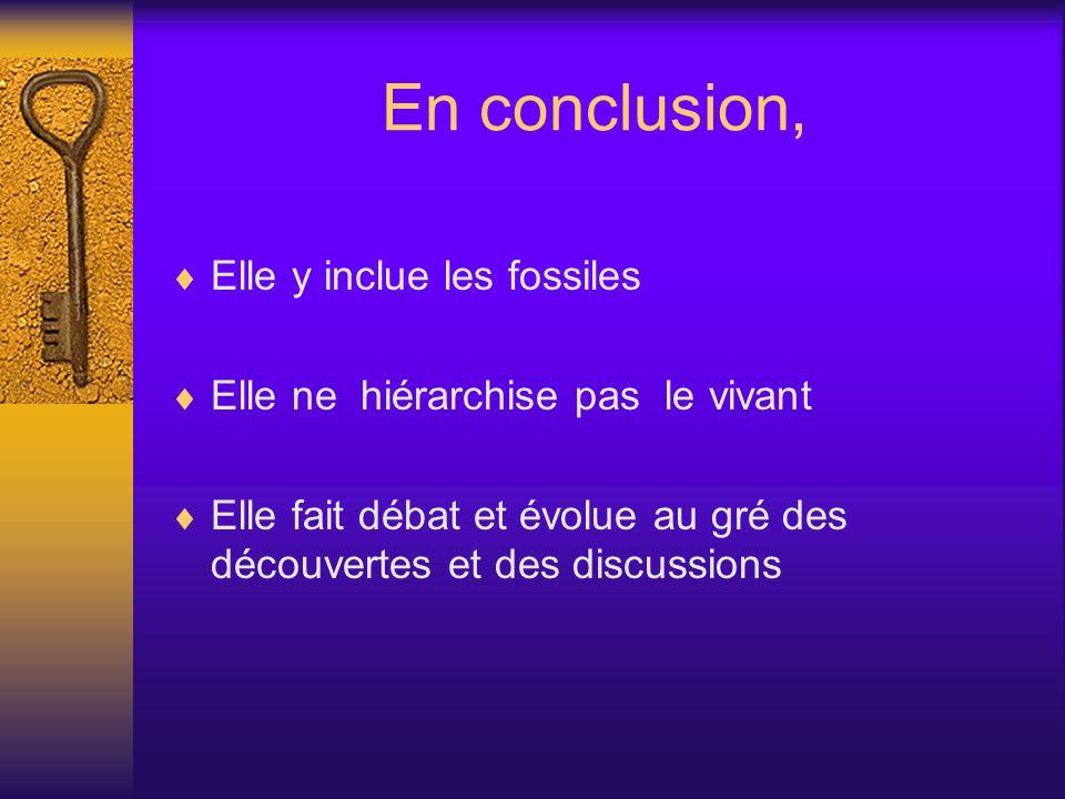 En conclusion, Elle y inclue les fossiles