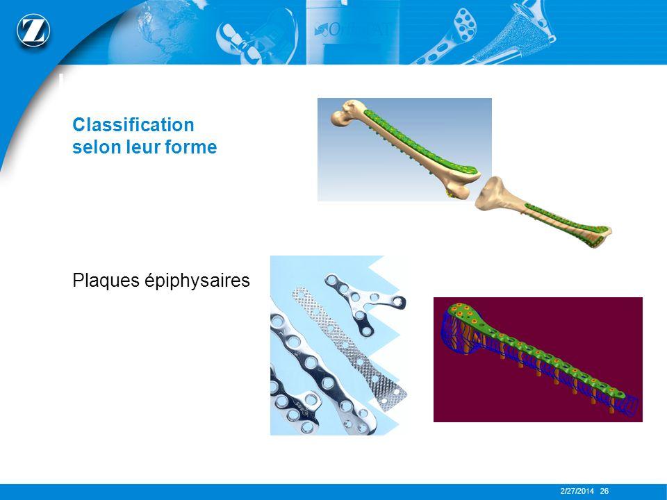 LES PLAQUES Classification selon leur forme Plaques épiphysaires