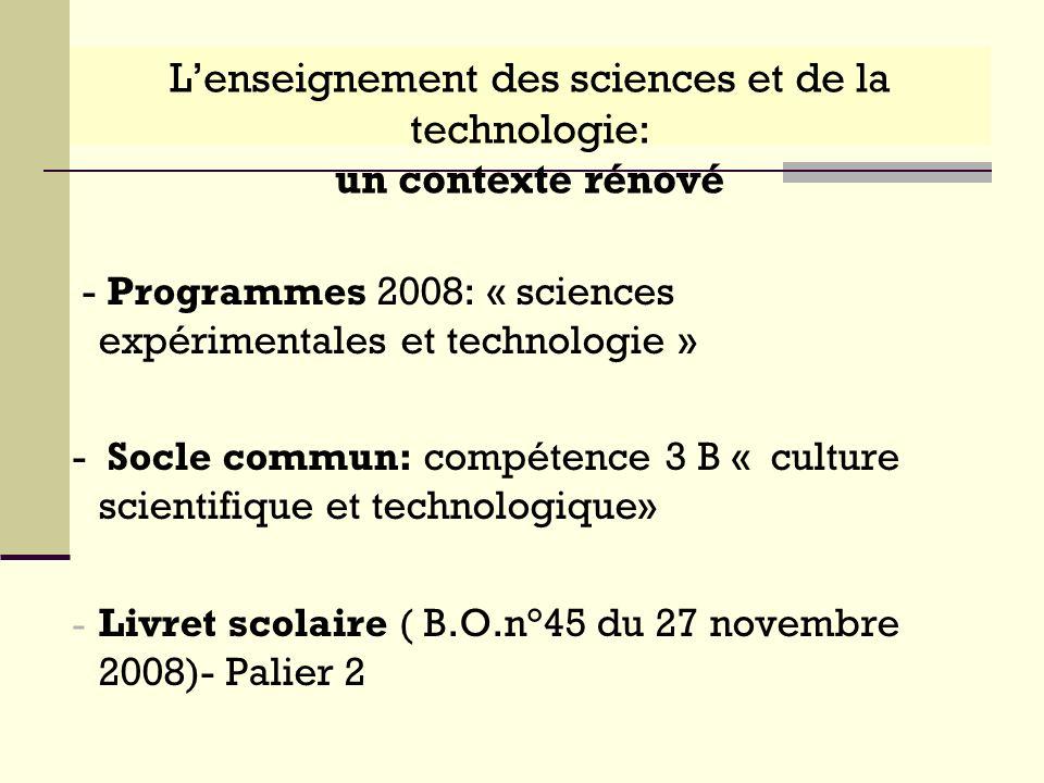 L'enseignement des sciences et de la technologie: un contexte rénové