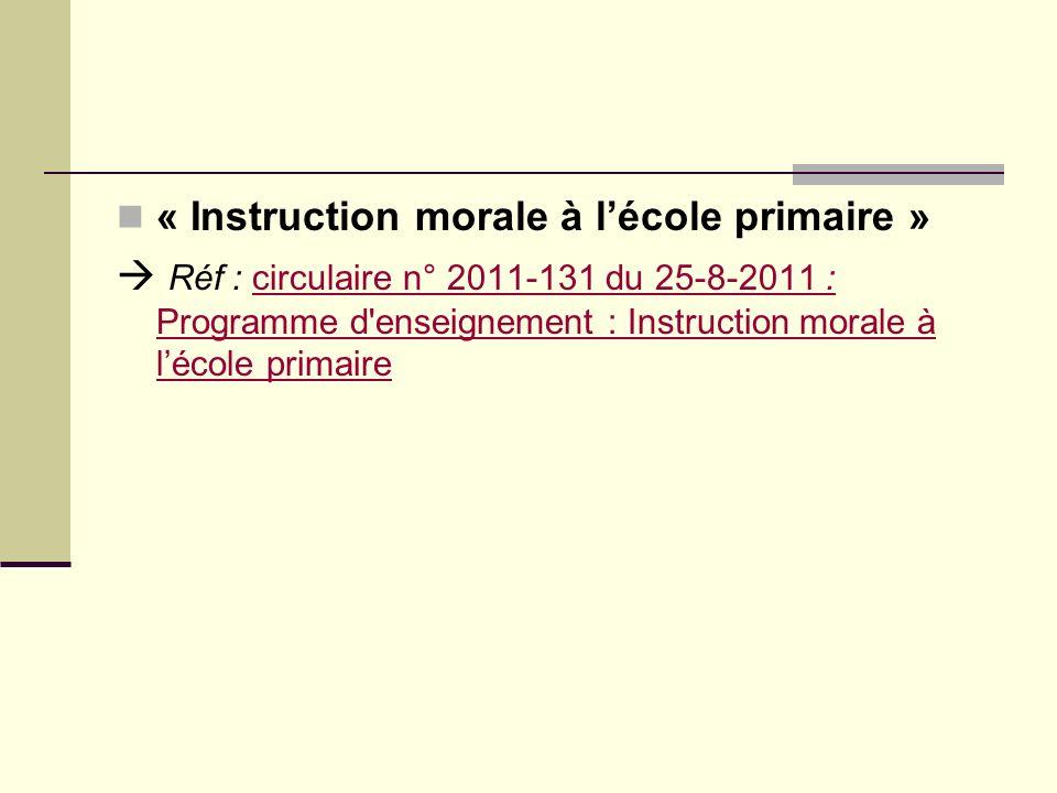 « Instruction morale à l'école primaire »