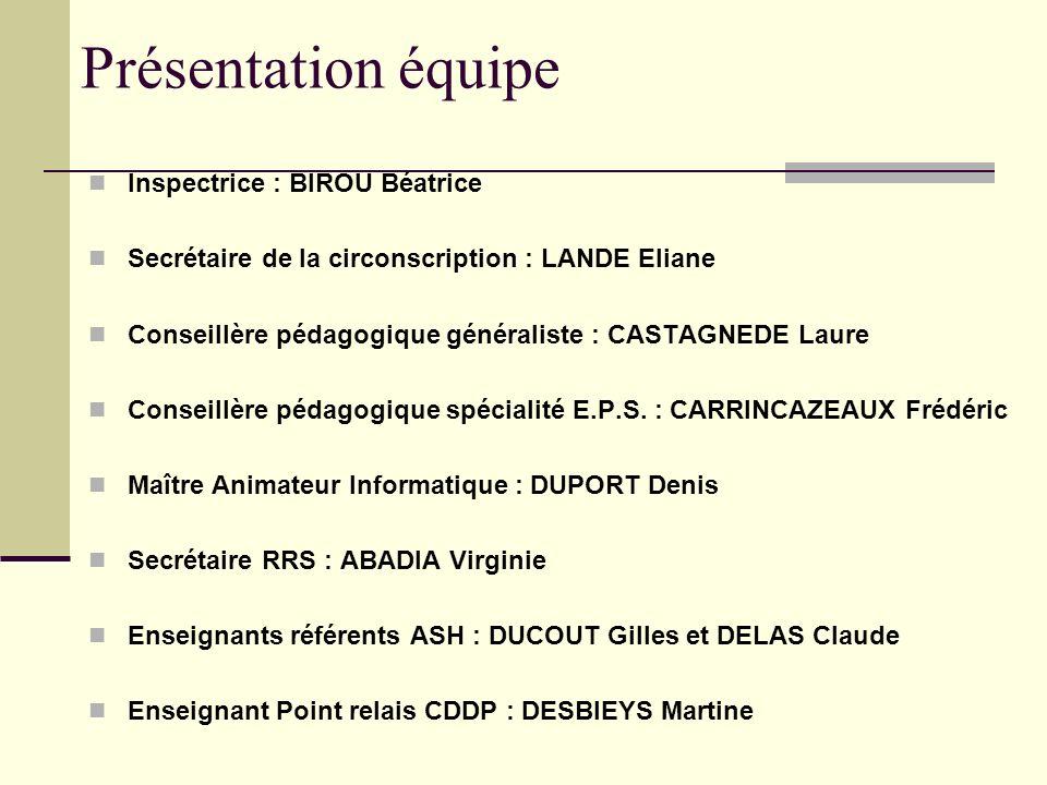 Présentation équipe Inspectrice : BIROU Béatrice
