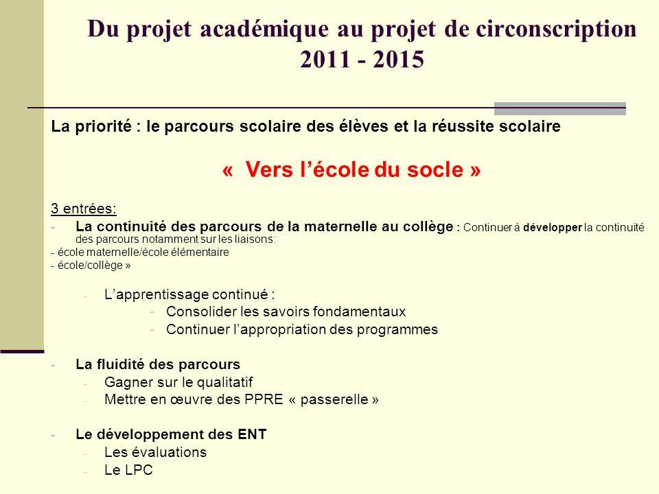 Du projet académique au projet de circonscription 2011 - 2015