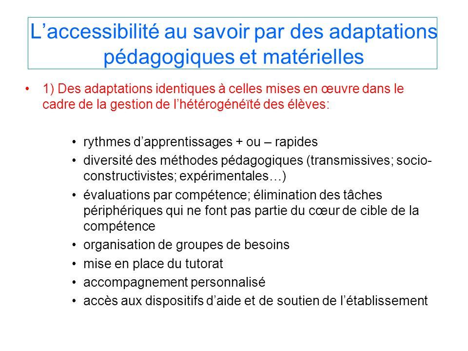L'accessibilité au savoir par des adaptations pédagogiques et matérielles
