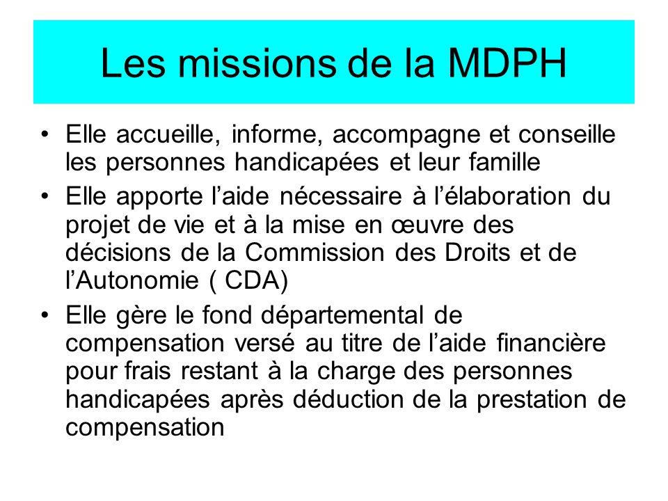 Les missions de la MDPH Elle accueille, informe, accompagne et conseille les personnes handicapées et leur famille.