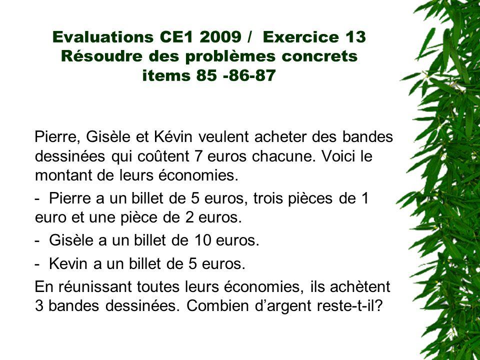 Evaluations CE1 2009 / Exercice 13 Résoudre des problèmes concrets items 85 -86-87