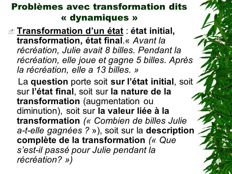 Problèmes avec transformation dits « dynamiques »