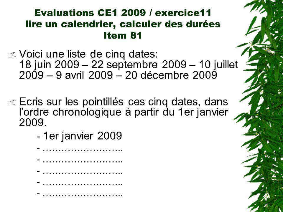 Evaluations CE1 2009 / exercice11 lire un calendrier, calculer des durées Item 81