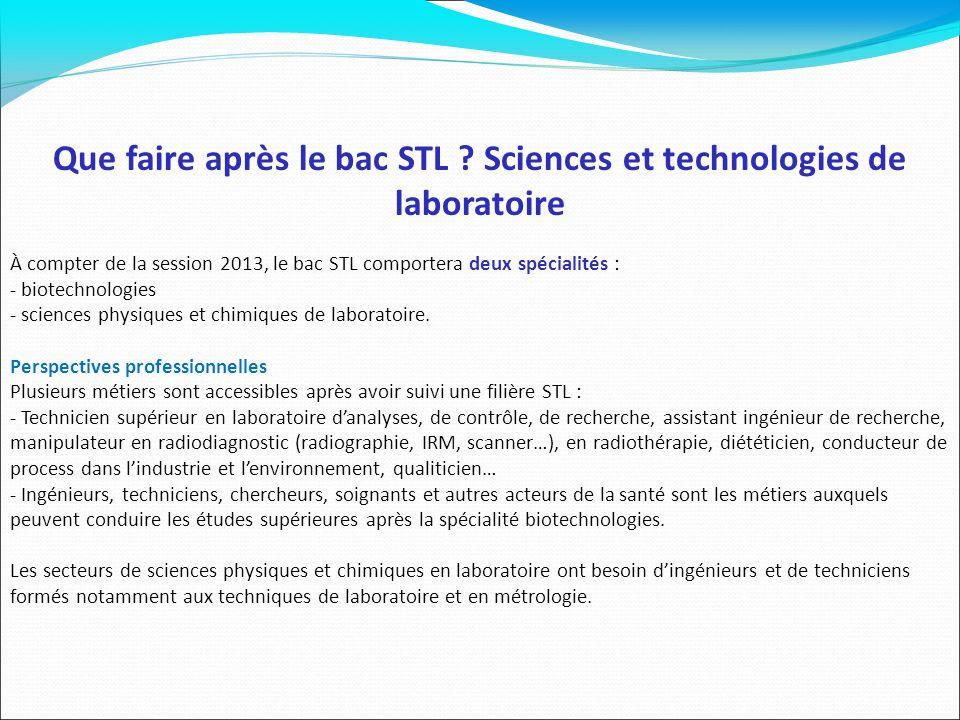 Que faire après le bac STL Sciences et technologies de laboratoire