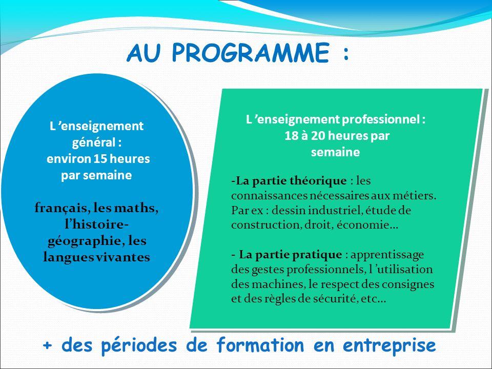 AU PROGRAMME : + des périodes de formation en entreprise