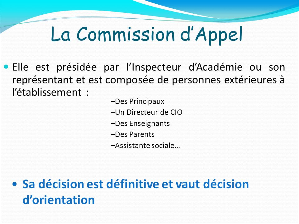 La Commission d'Appel