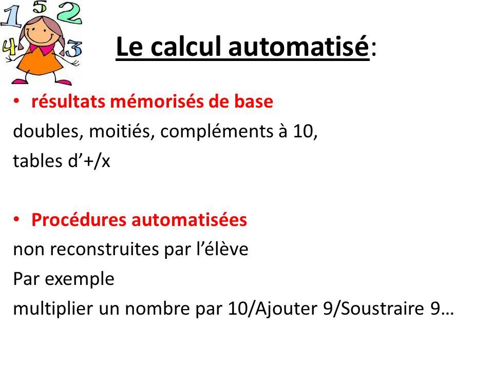 Le calcul automatisé: résultats mémorisés de base