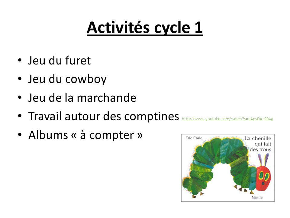Activités cycle 1 Jeu du furet Jeu du cowboy Jeu de la marchande