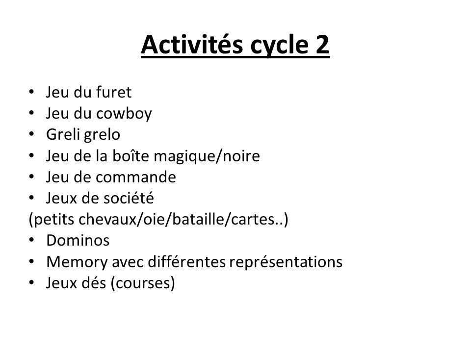 Activités cycle 2 Jeu du furet Jeu du cowboy Greli grelo