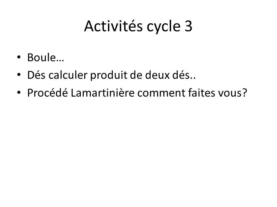 Activités cycle 3 Boule… Dés calculer produit de deux dés..