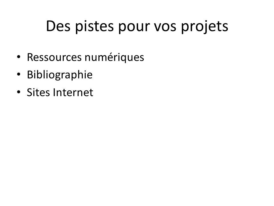 Des pistes pour vos projets