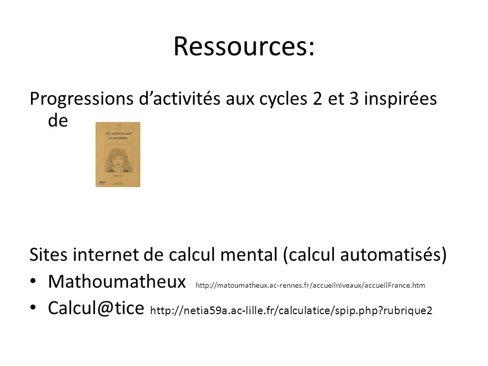 Ressources: Progressions d'activités aux cycles 2 et 3 inspirées de