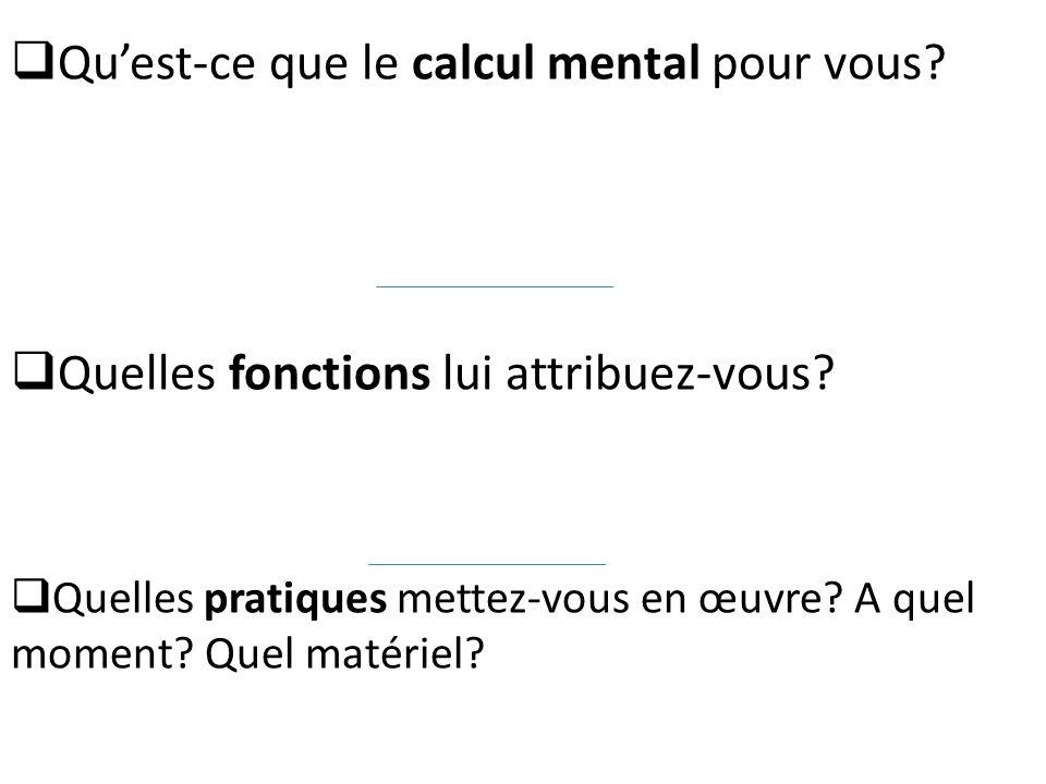 Qu'est-ce que le calcul mental pour vous