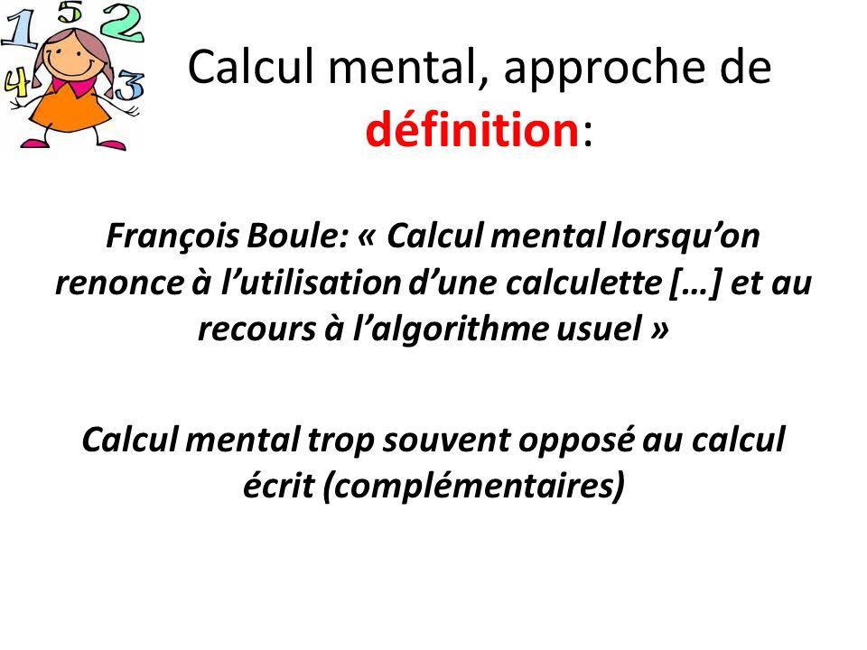 Calcul mental, approche de définition: