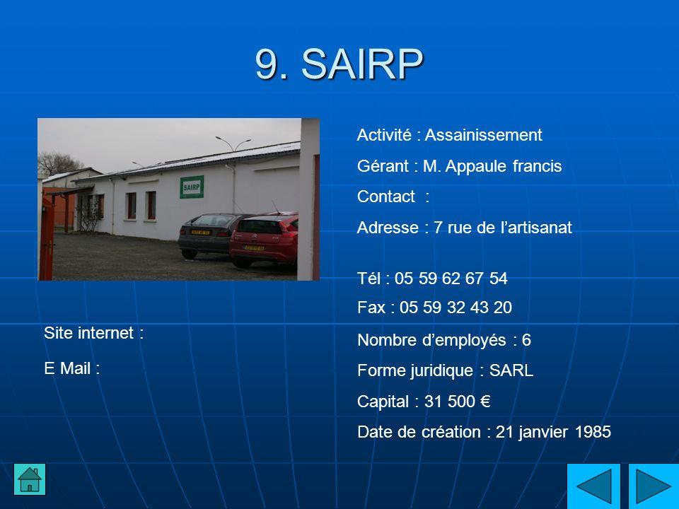 9. SAIRP Activité : Assainissement Gérant : M. Appaule francis