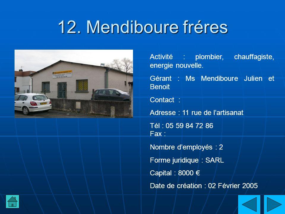 12. Mendiboure fréresActivité : plombier, chauffagiste, energie nouvelle. Gérant : Ms Mendiboure Julien et Benoit.