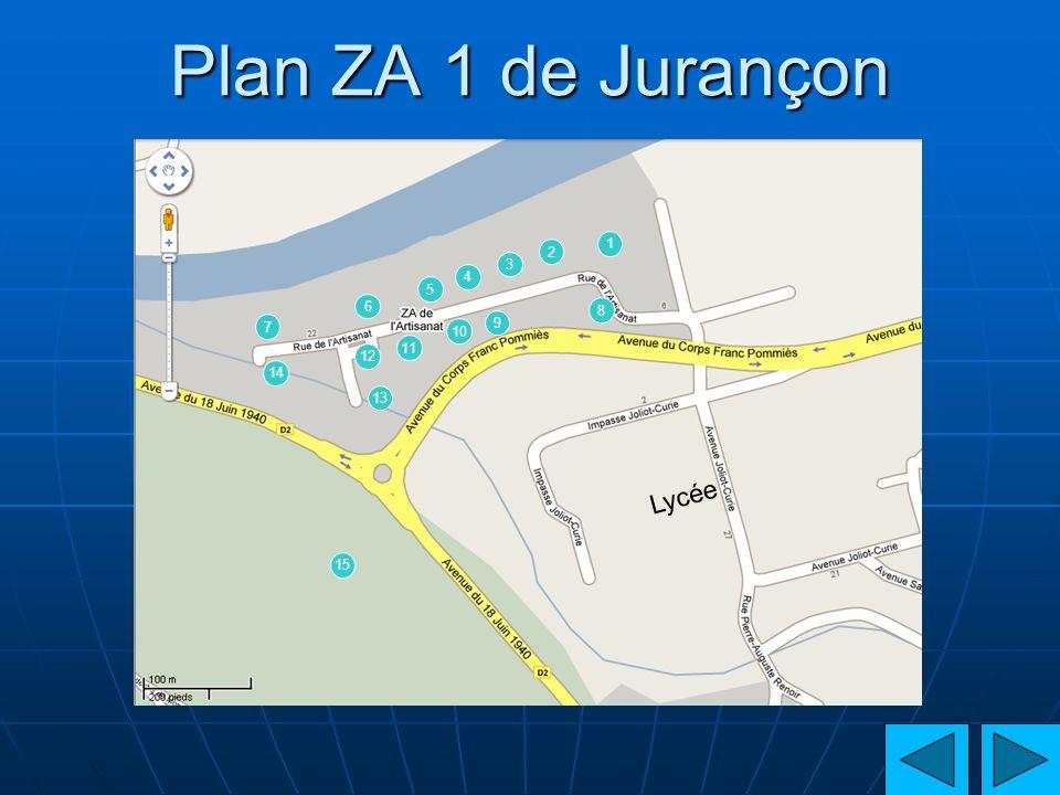 Plan ZA 1 de Jurançon 1 2 3 4 5 6 8 7 9 10 11 12 14 13 Lycée 15