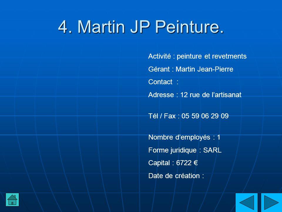 4. Martin JP Peinture. Activité : peinture et revetments