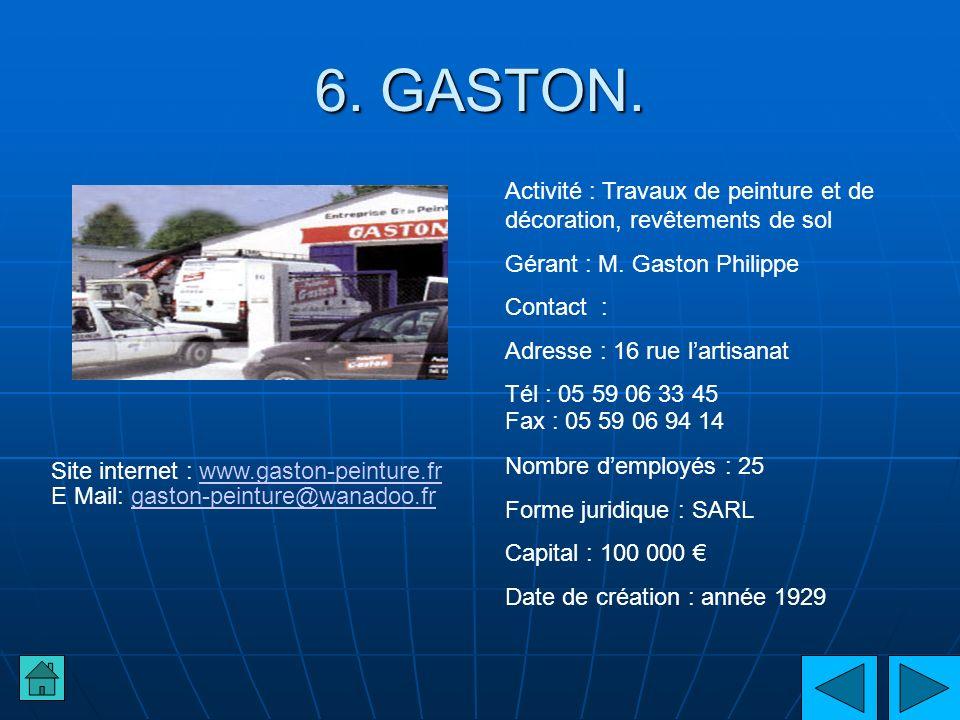 6. GASTON. Activité : Travaux de peinture et de décoration, revêtements de sol. Gérant : M. Gaston Philippe.