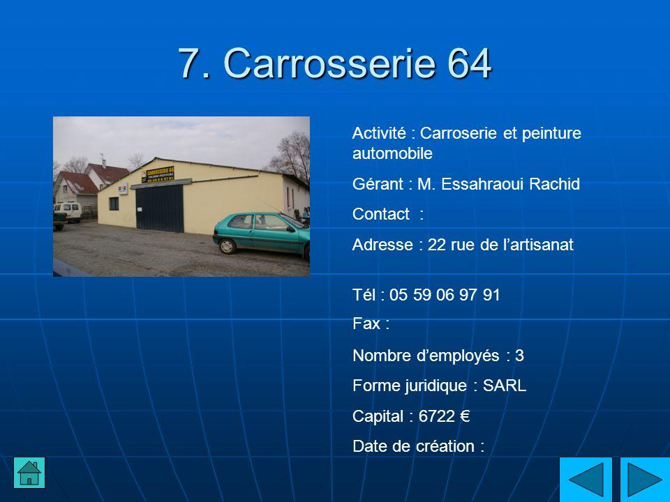 7. Carrosserie 64 Activité : Carroserie et peinture automobile