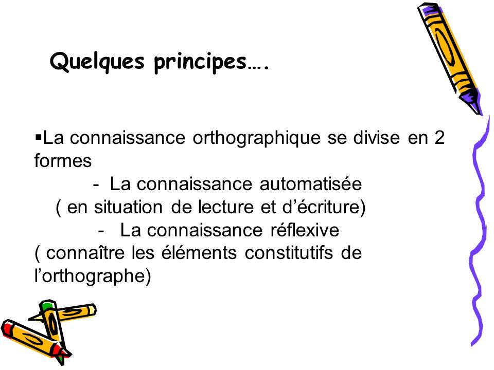 Quelques principes….La connaissance orthographique se divise en 2 formes. - La connaissance automatisée.