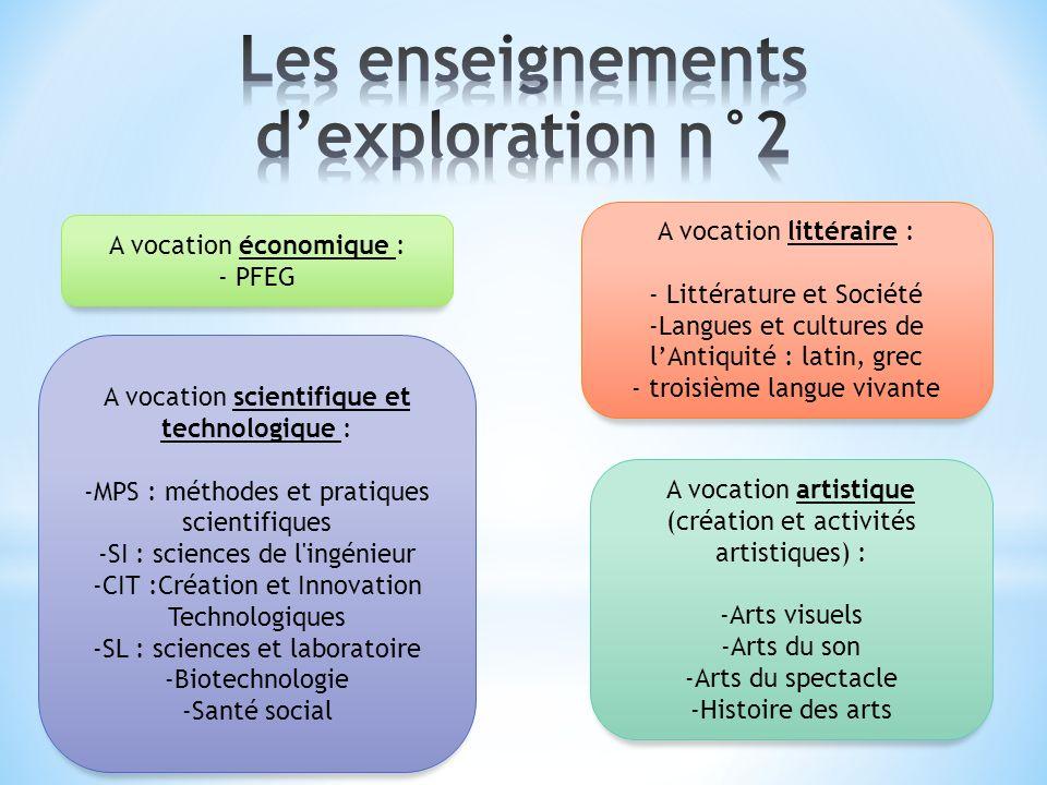 Les enseignements d'exploration n°2