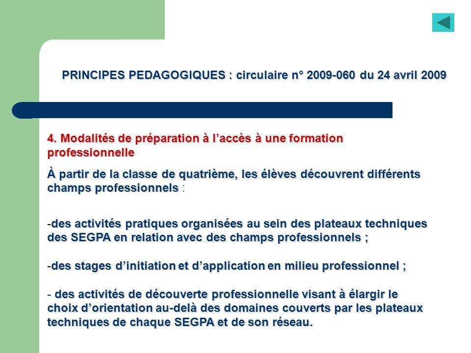 PRINCIPES PEDAGOGIQUES : circulaire n° 2009-060 du 24 avril 2009