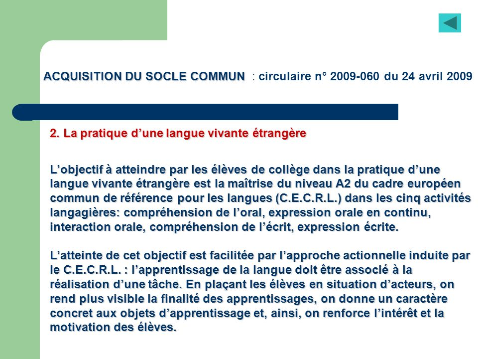ACQUISITION DU SOCLE COMMUN : circulaire n° 2009-060 du 24 avril 2009